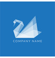 swan logo origami sign on blue background vector image