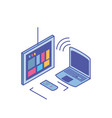 tv screen with remote control and laptop vector image vector image