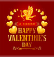 valentines day greeting card with cupids and heart vector image vector image