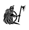 viking with an axe and a shield vector image