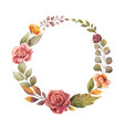 watercolor autumn wreath with red rose
