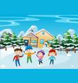 winter scene with children standing in front of vector image vector image