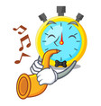 with trumpet stowatch on a mascot wood table vector image