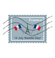 14 july french national day postage stamp happy vector image vector image