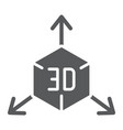 3d object glyph icon cube and rotation 3d vector image