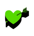 arrow heart sign green 3d icon with black vector image vector image