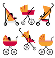 Baby carriages set vector image vector image