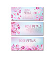 banners with rose petals vector image vector image