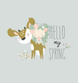 beautiful cartoon girl with cute deerbest friends vector image vector image