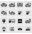 black electric car icon set vector image vector image