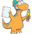 Cartoon Brontosaurus with a Pencil vector image vector image