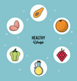 colorful background of healthy lifestyle with set vector image vector image