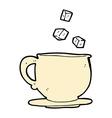 Comic cartoon teacup with sugar cubes