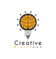 creative idea brain pencil lamp pen design logo vector image