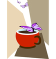 Cup of coffee and butterflies vector image vector image