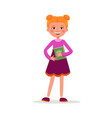 cute girl with pigtails in dress with a book and vector image vector image