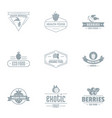 exotic berry logo set simple style vector image