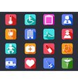 flat medical long shadow icons vector image
