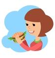 Girl eating sandwich on theme vector image vector image