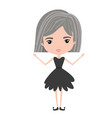 girly fairy without wings and grey short hair in vector image