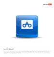 glasses frame icon - 3d blue button vector image