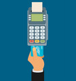 hand pushing credit card into the pos terminal vector image vector image