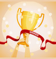 hands holding the winners cup vector image vector image