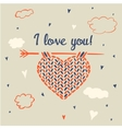 I love you Knitting heart on a background of sky vector image
