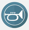 icon trumpet on white circle with a long shadow vector image