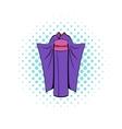 Japanese kimono icon in comics style vector image