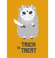 masked sheep with a knife trick or treat vector image vector image