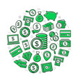 money colored icons in circle design vector image
