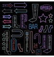 Neon font set vector image vector image