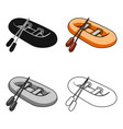 orange rubber lifeboatthe boat which weighs on vector image vector image