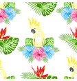 pattern with flowers and parrot vector image vector image