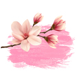 Pink paint magnolia branch banner vector image vector image