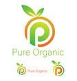 pure organic logo design template vector image vector image