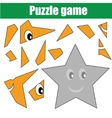 Puzzle game with star shape Printable kids vector image vector image