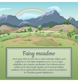 Rainbow over field and mountains vector image vector image