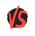 red watercolor versus sign on black stain vector image vector image