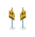 road signs isometric set street object vector image vector image