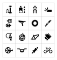 Set icons of bicycle parts and accessories vector image vector image