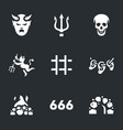 set of hell icons vector image vector image
