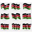 Set of Kenya flags in the air vector image