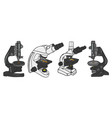 set of microscope icon science elements hand vector image