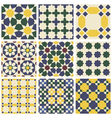 Set of nine oriental Mauritanian seamless patterns vector image vector image