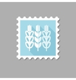 Spikelets wheat flat stamp with long shadow vector image vector image