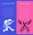 summer fest rock music poster with man play guitar vector image vector image