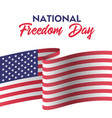 Usa national freedom day card with american flag