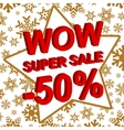 Winter sale poster with WOW SUPER SALE MINUS 50